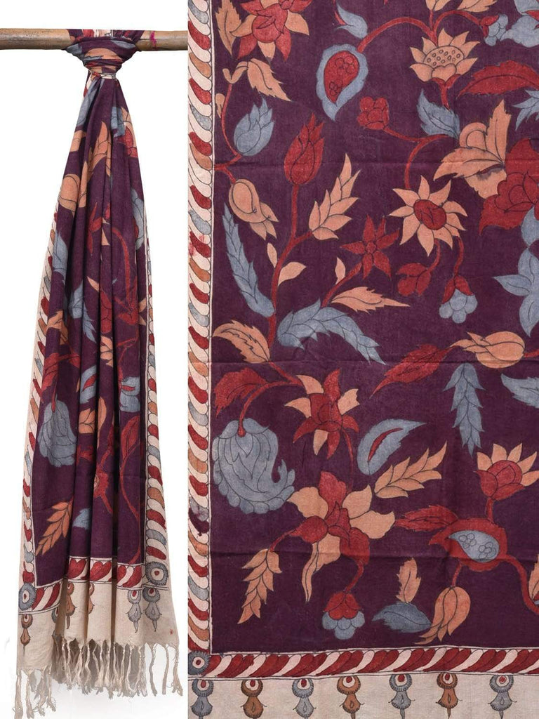 Maroon Kalamkari Hand Painted Cotton Handloom Dupatta with Flowers Design ds2081