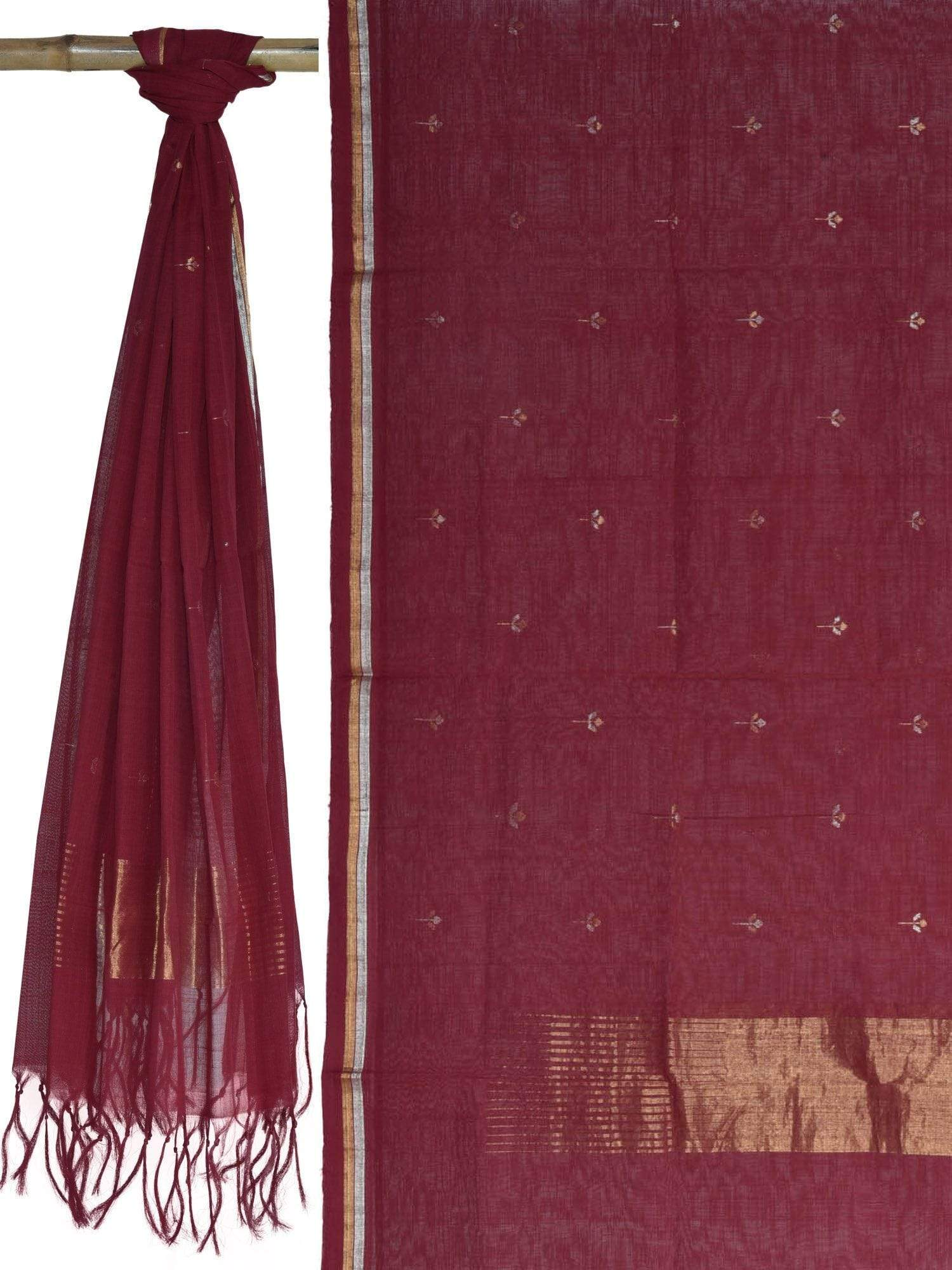 Maroon Khadi Cotton Handloom Dupatta with Buta Design ds1642