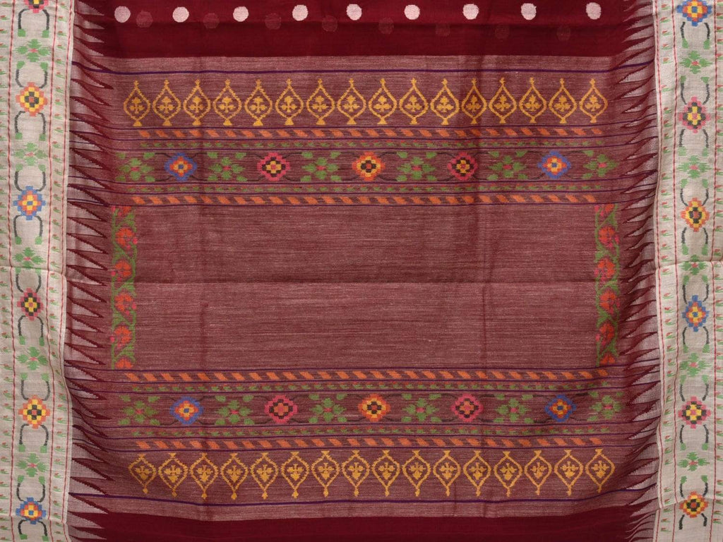 Maroon Paithani Cotton Handloom Saree with Body Buta and Border Design p0342