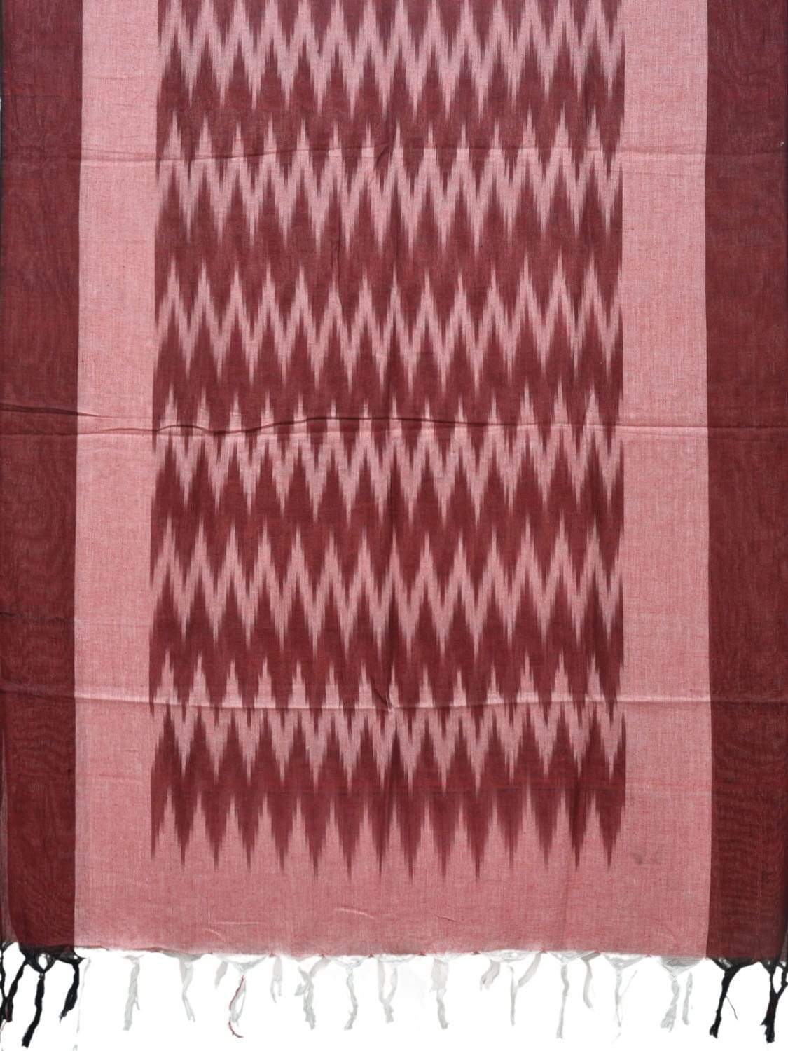Maroon Pochampally Ikat Cotton Handloom Dupatta with Zig-Zag Design ds1846