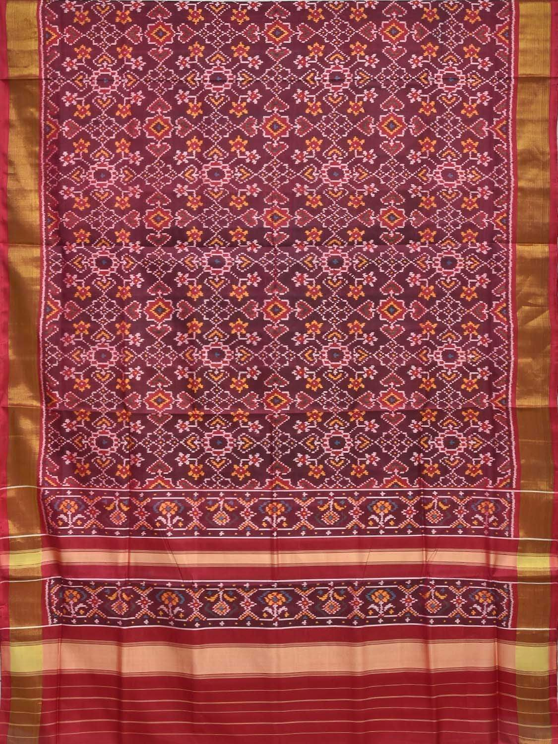 Maroon Pochampally Ikat Silk Handloom Saree with All Over Patola Design i0524