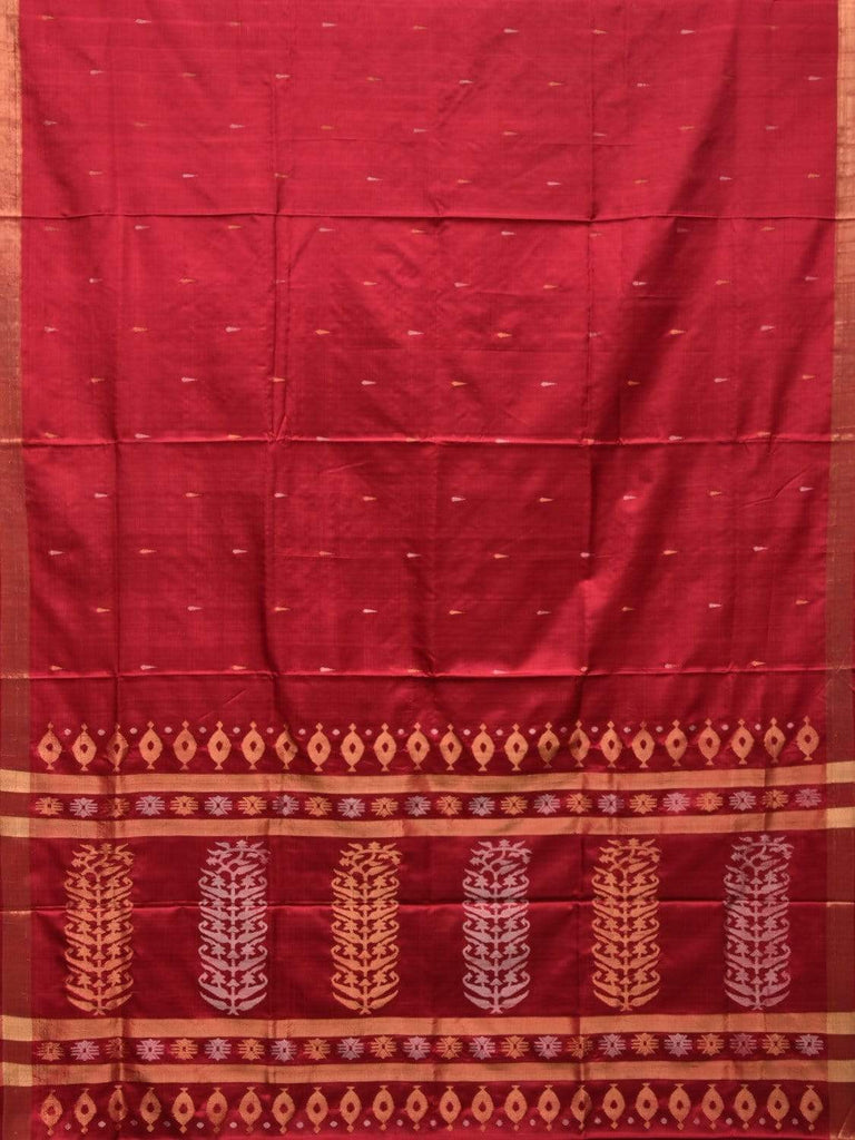 Maroon Uppada Silk Handloom Saree with Karpur Pallu Design u1735