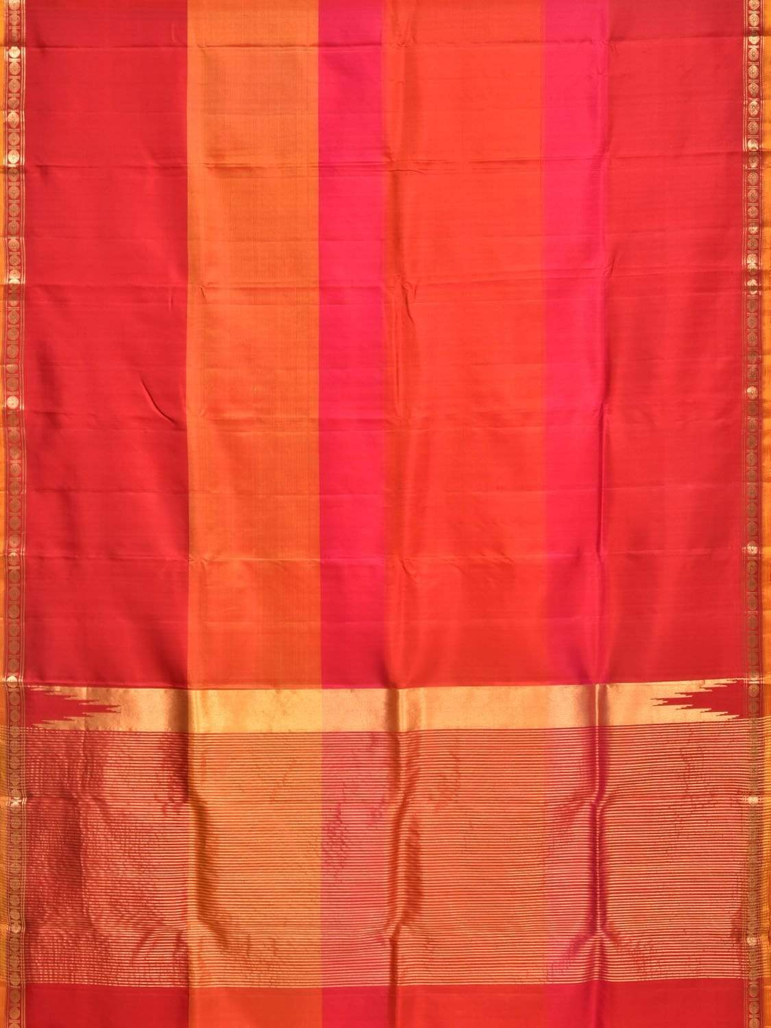 Multicolor Gadwal Silk Handloom Saree with Small Brocade Border Design g0245