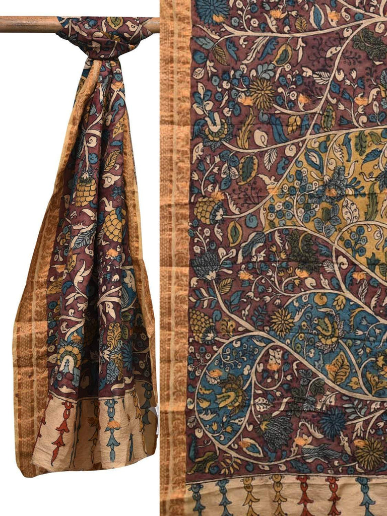Multicolor Kalamkari Hand Painted Kanchipuram Silk Dupatta with Flowers and Leaves Design ds2096