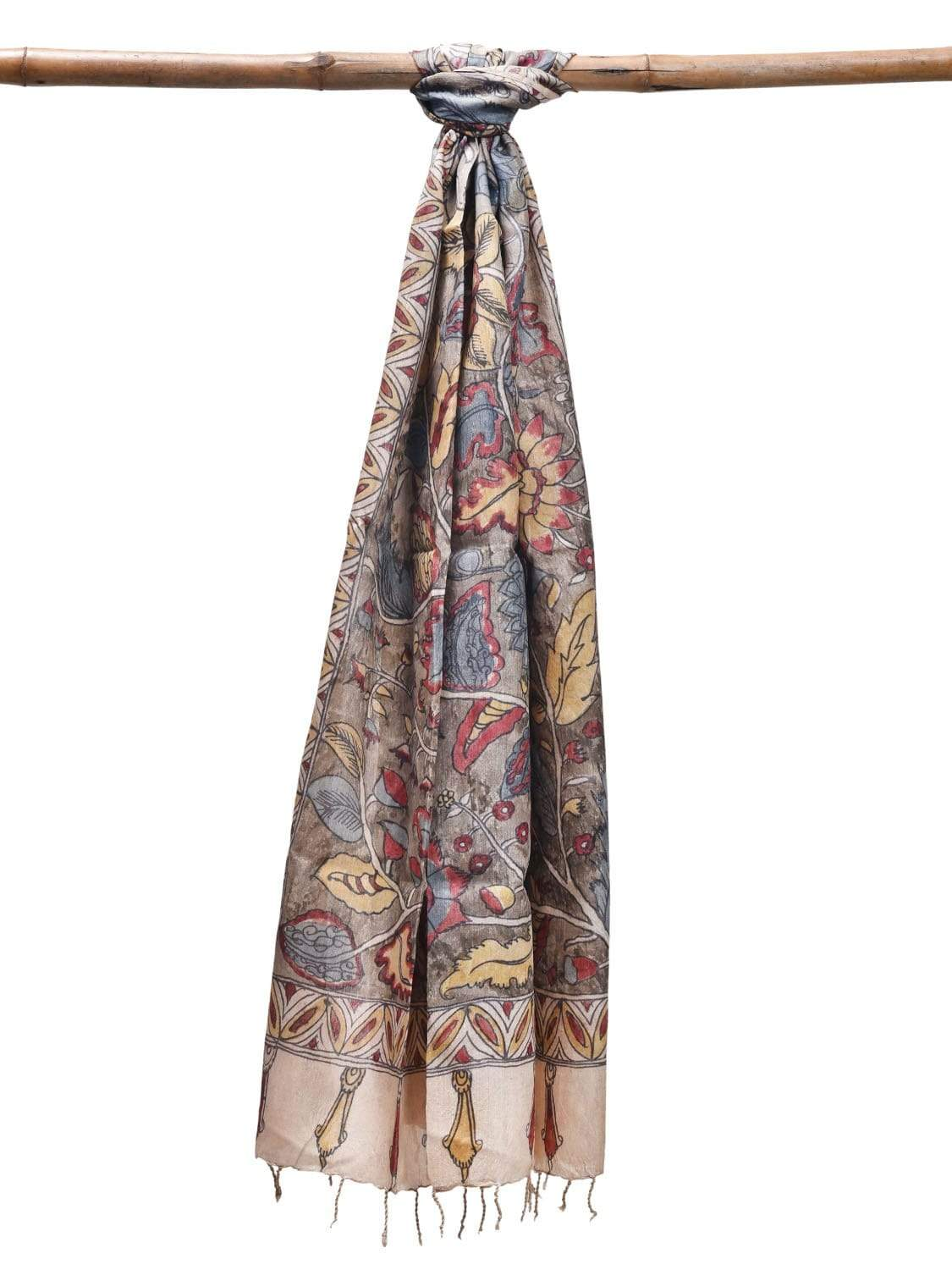 Multicolor Kalamkari Hand Painted Tussar Dupatta with Exotic Flowers Design ds1907