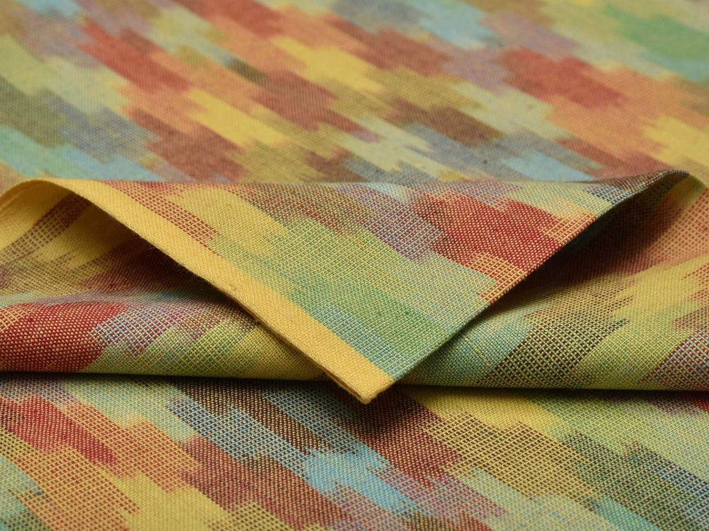 Multicolor Pochampally Double Ikat Cotton Handloom Fabric With Diamond Design F0063