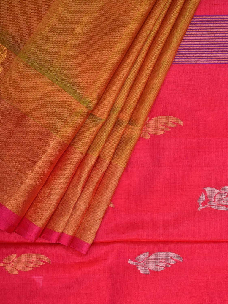 Mustard and Pink Uppada Silk Handloom Saree with Body Buta Design u1733