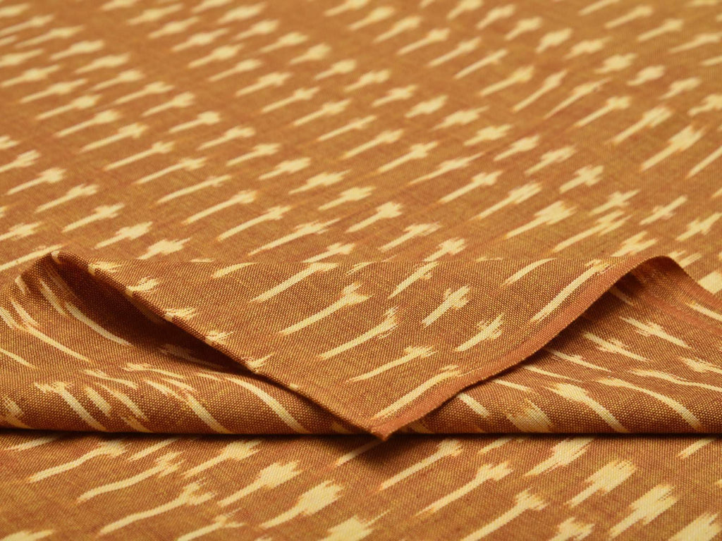 Mustard Ikat Cotton Handloom Fabric With Butas Design F0107