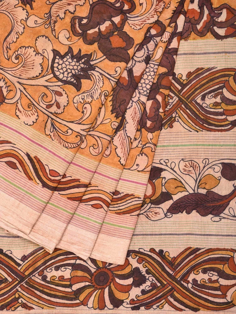 Mustard Kalamkari Hand Painted Cotton Handloom Saree with All Over Exotic Flowers Design kl0088