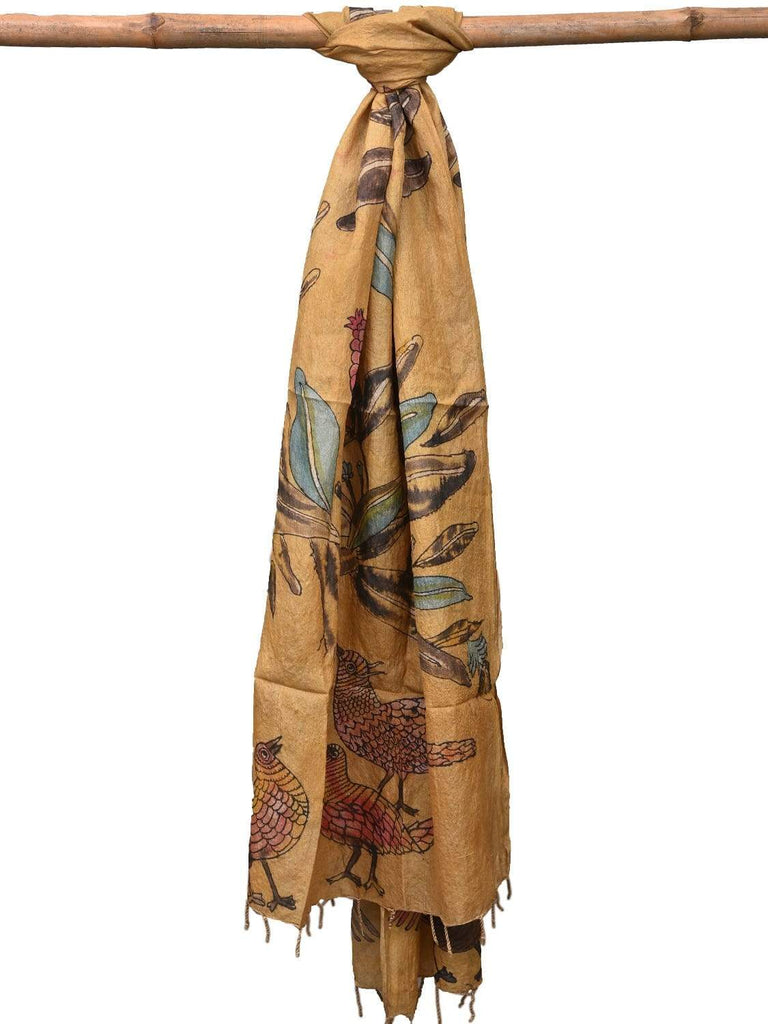 Mustard Kalamkari Hand Painted Tussar Handloom Dupatta with Flowers and Birds Design ds2143