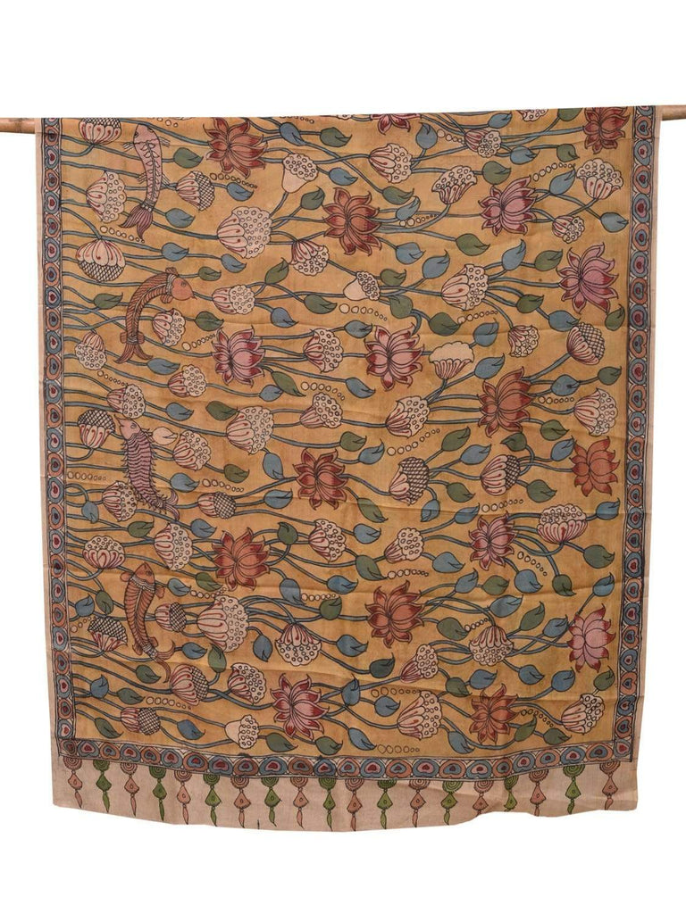 Mustard Kalamkari Hand Painted Tussar Handloom Dupatta with Lotus Flowers and Fishes Design ds2091