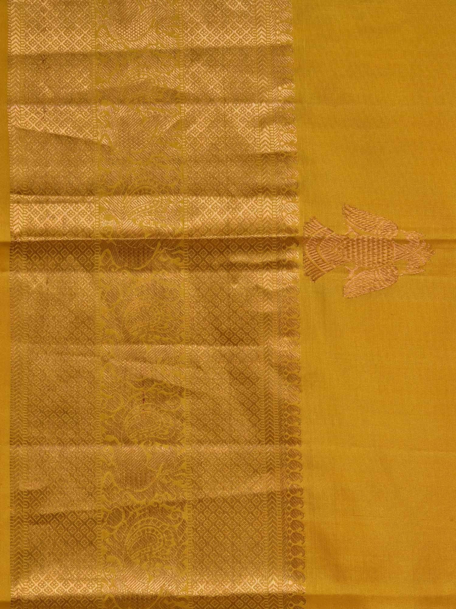 Mustard Kanchipuram Silk Handloom Saree with Corner and Buta Gandaberunda Design K0423