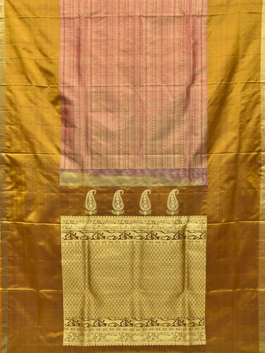 Mustard Kanchipuram Silk Handloom Saree with Middle Brocade Design k0503