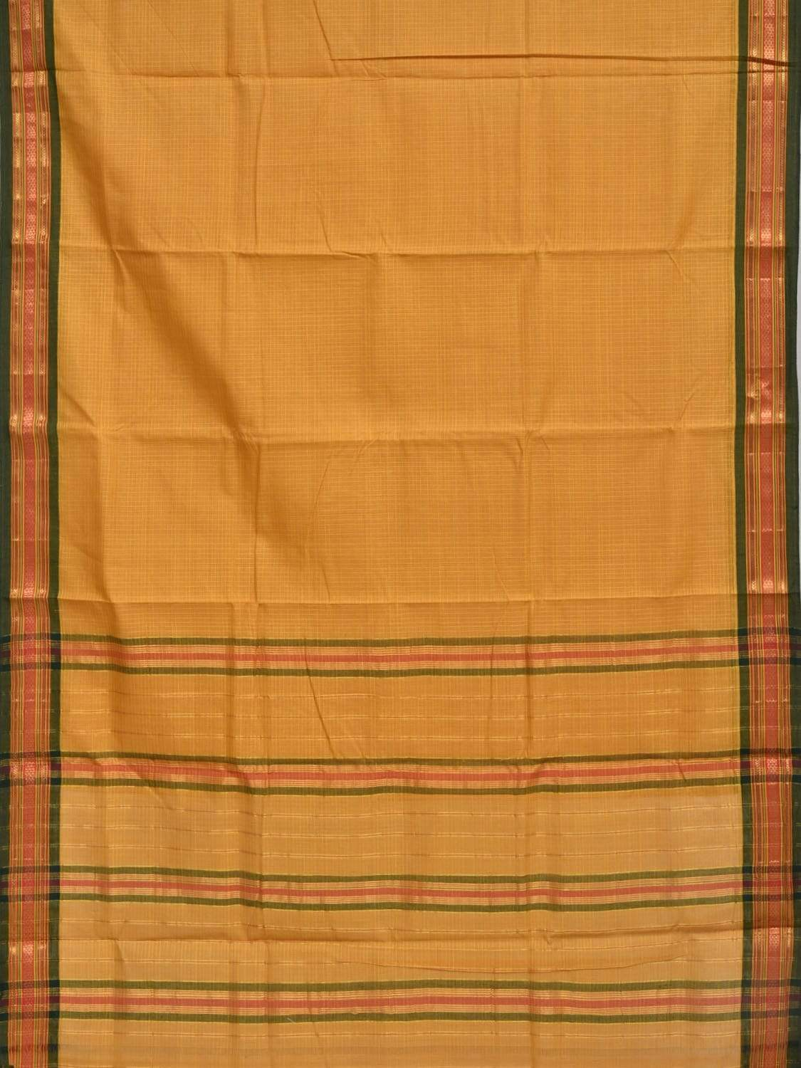 Mustard Narayanpet Cotton Handloom Saree with Checks and Border Design No Blouse np0244