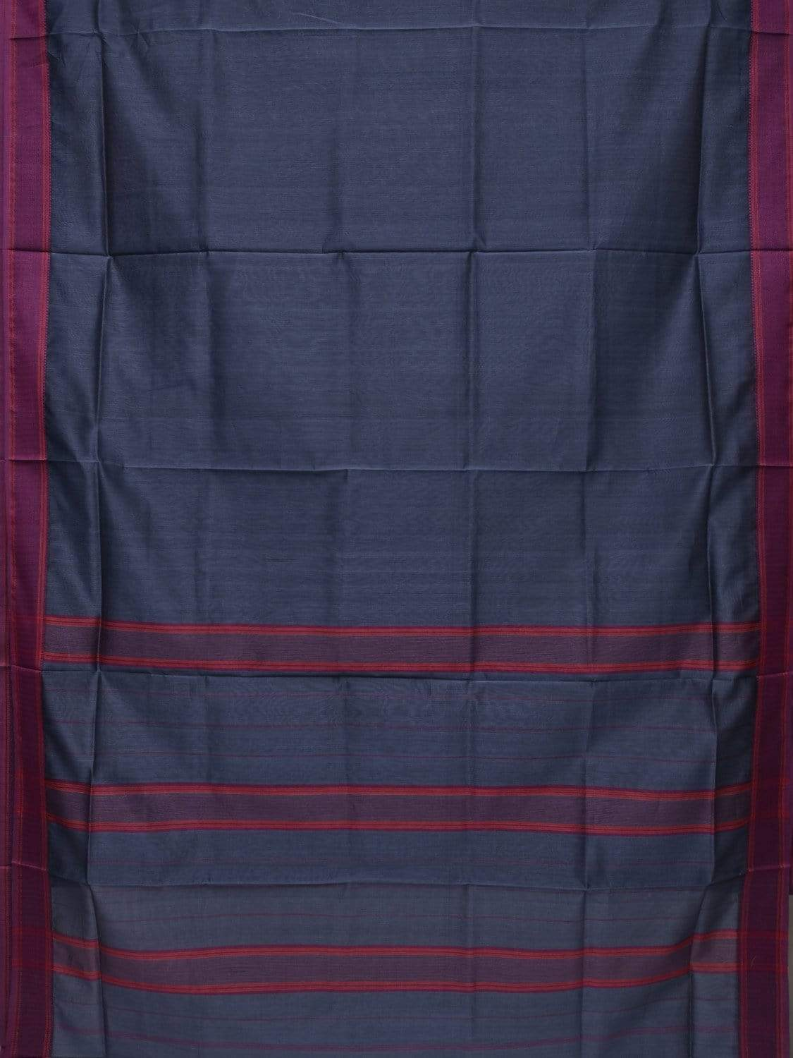 Navy Blue Maheshwari Cotton Silk Handloom Saree with Strips Pallu Design m0116