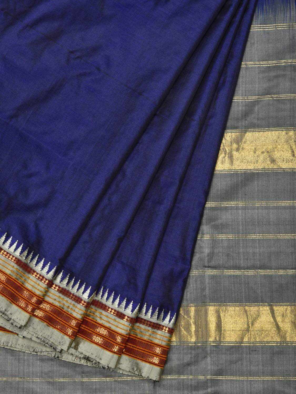 Navy Blue Narayanpet Silk Handloom Saree with Traditional Small Temple Border Design np0264