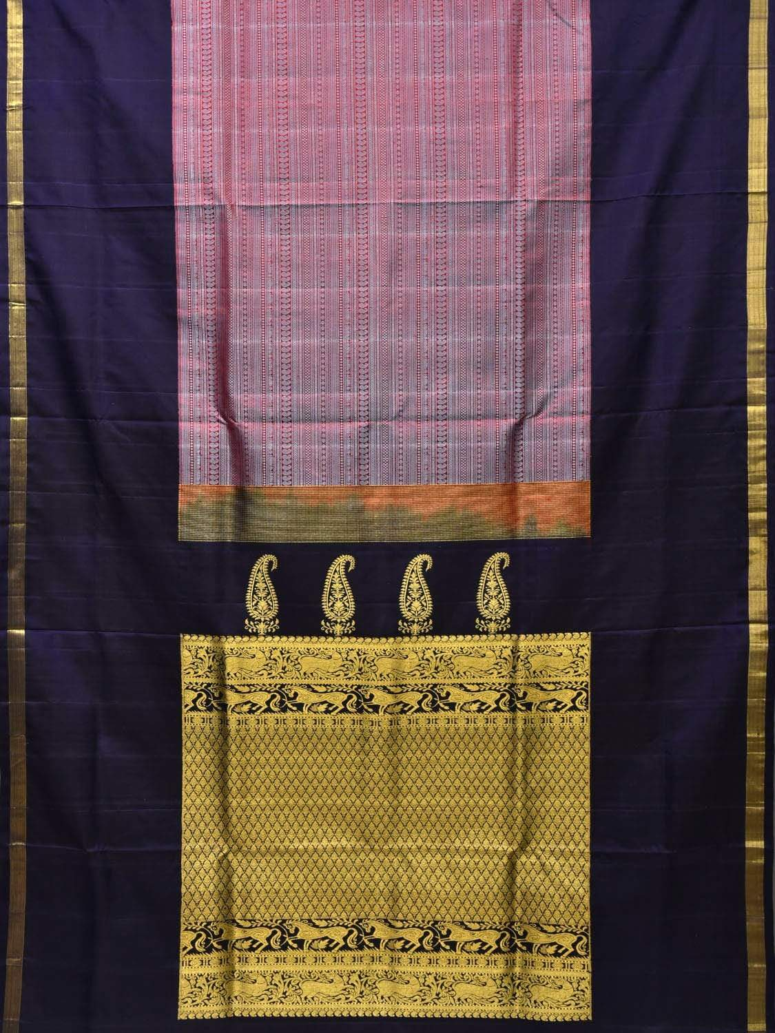 Navy Kanchipuram Silk Handloom Saree with Middle Brocade Design k0501