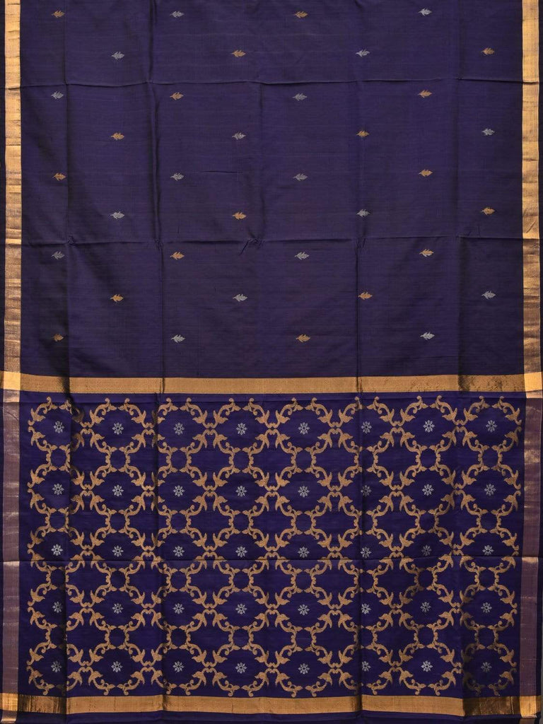 Navy Uppada Silk Handloom Saree with Grill Pallu Design u1700