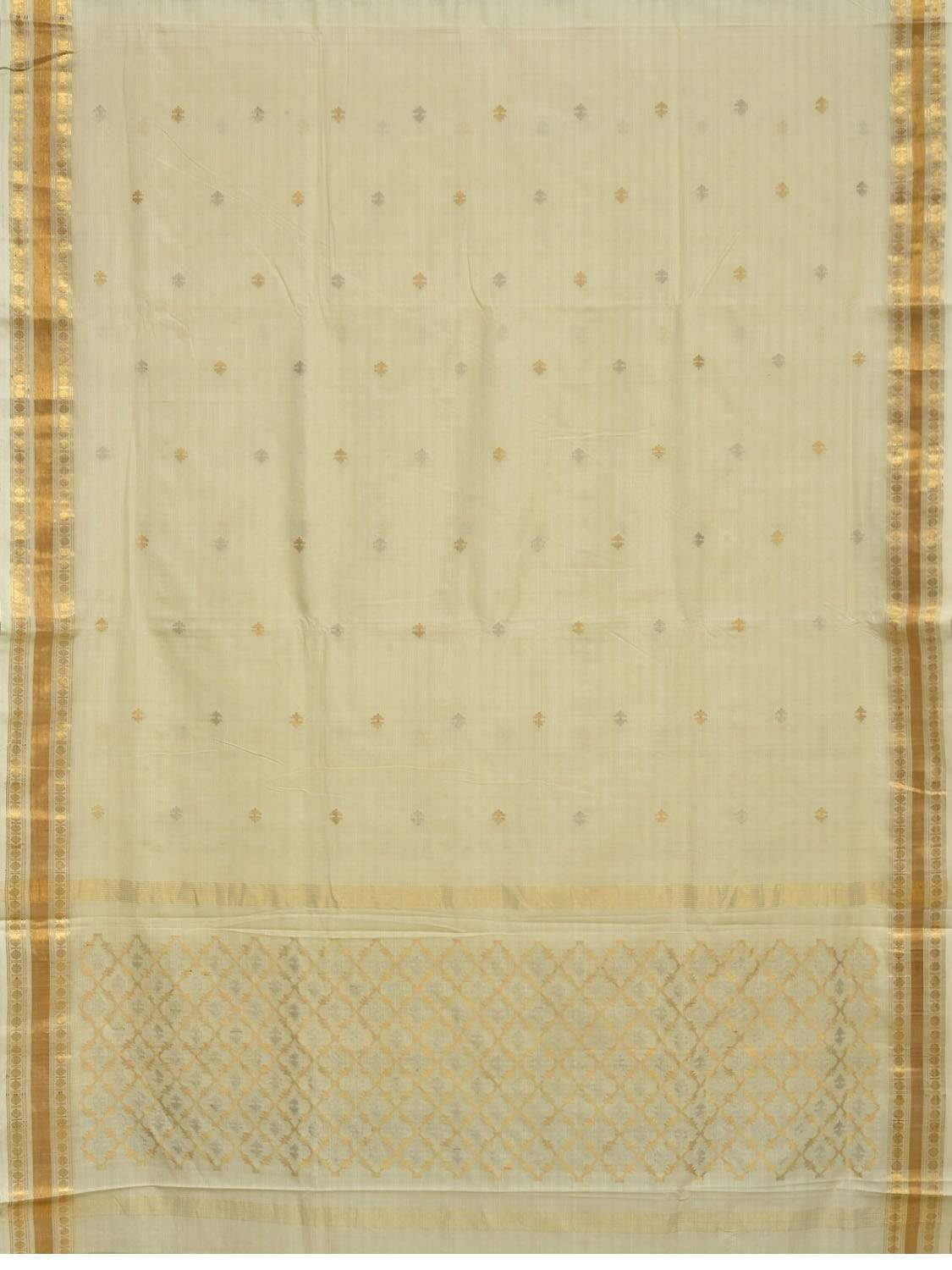 Off White Uppada Cotton Handloom Saree with Jamdani Pallu and Traditional Border Design u1580