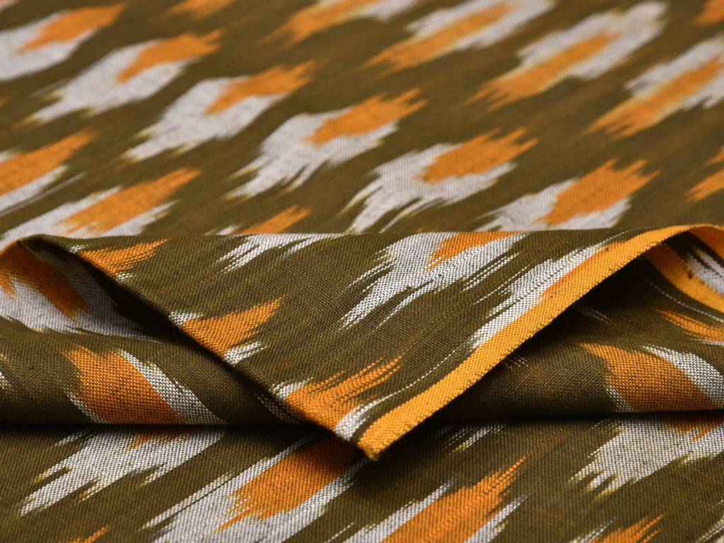 Olive And Orange Pochampally Single Ikat Cotton Handloom Fabric F0065