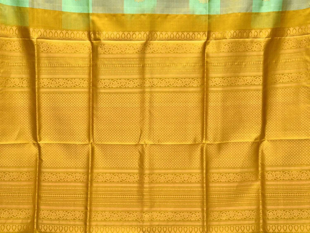 Olive and Turquoise Kanchipuram Silk Handloom Saree with Checks and Tree Buta Design k0505