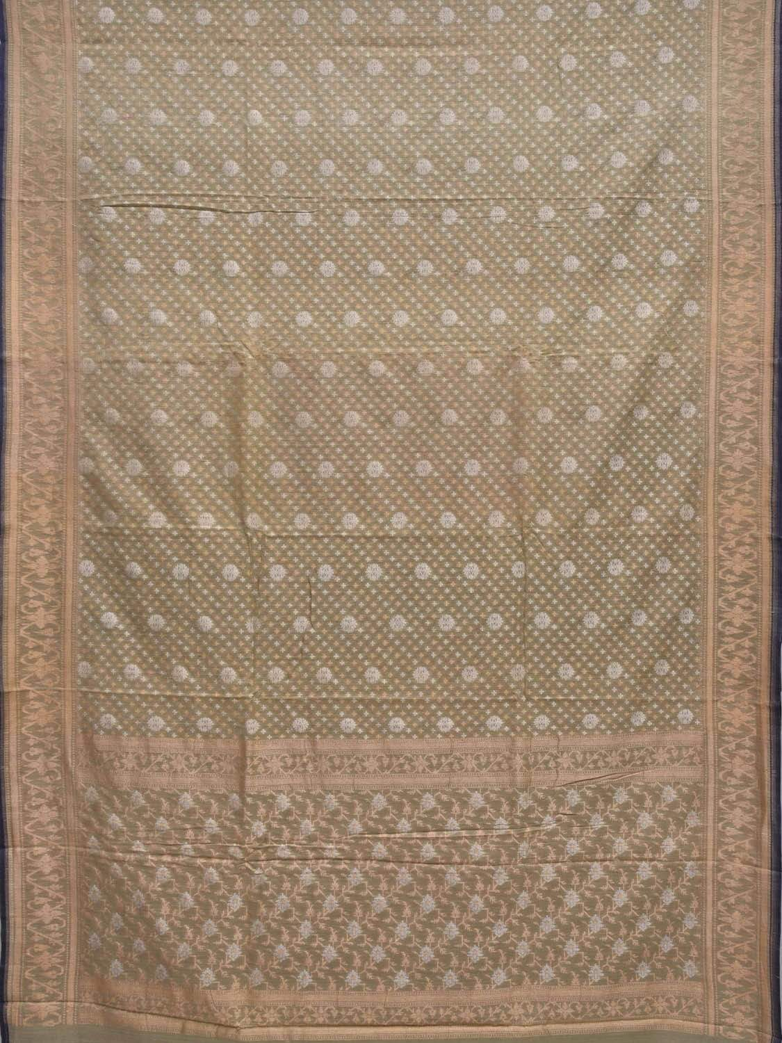 Olive Banaras Cotton Handloom Saree with All Over Buta Cut Work Design b0281