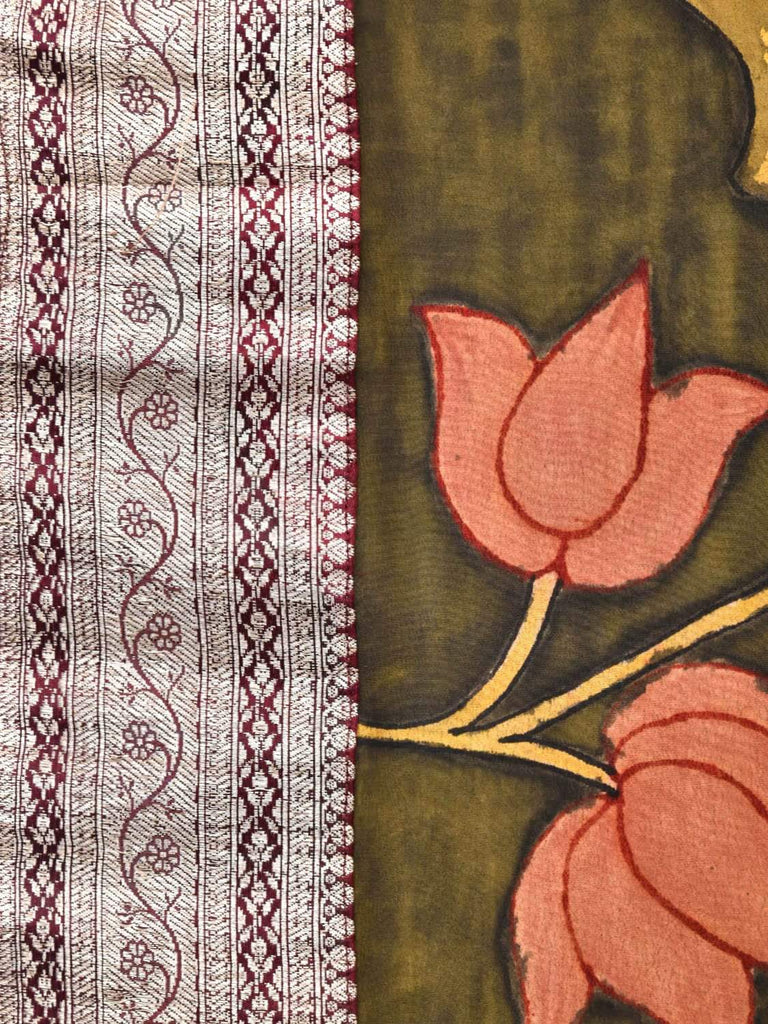 Olive Kalamkari Hand Painted Crepe Saree with Lotus Flowers and Fish Design KL0265