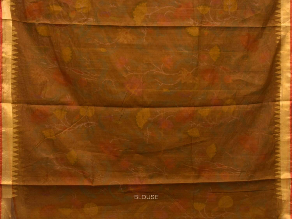 Olive Khadi Cotton Handloom Saree with All Over Lotus Flowers Design kh0510