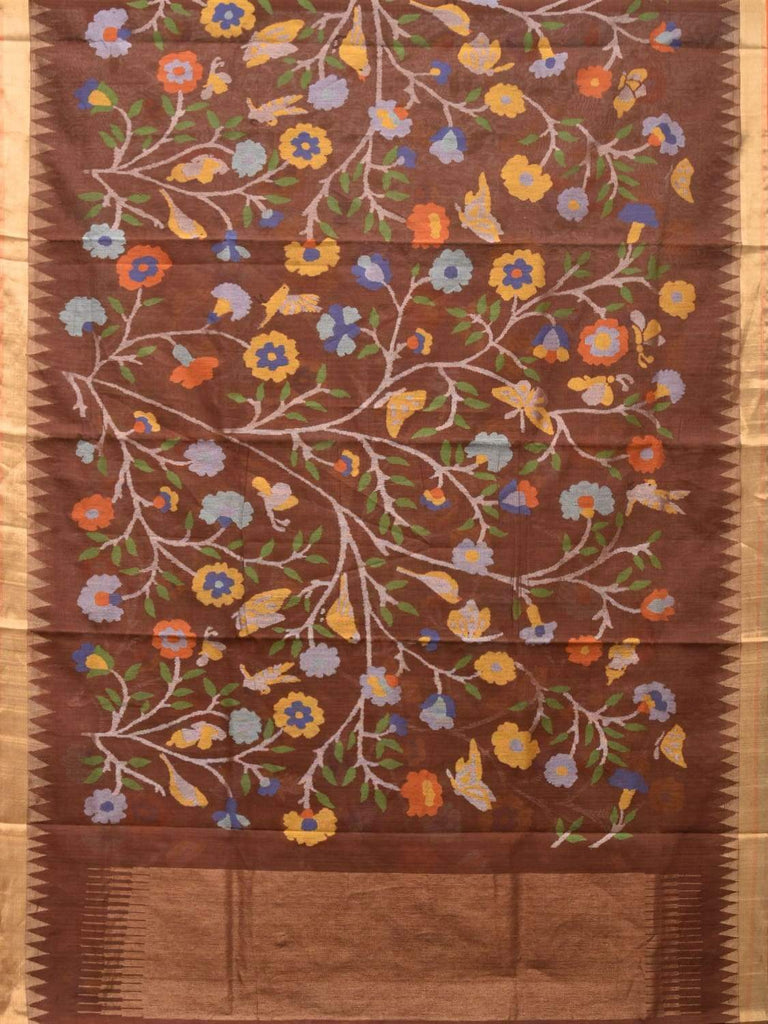 Olive Khadi Cotton Handloom Saree with All Over Lotus Flowers Design kh0514