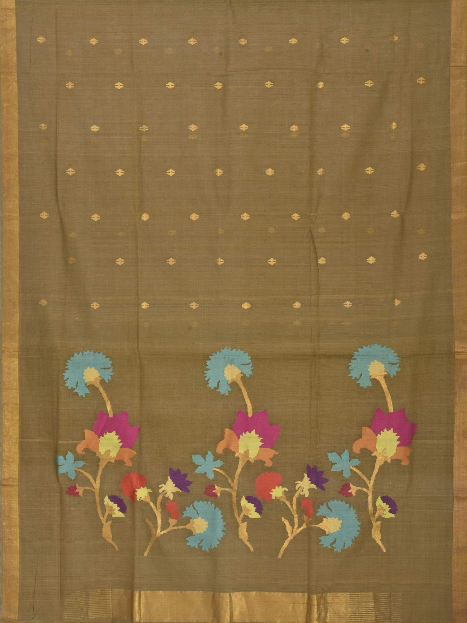 Olive Khadi Cotton Handloom Saree with Flower Pallu Design kh0287
