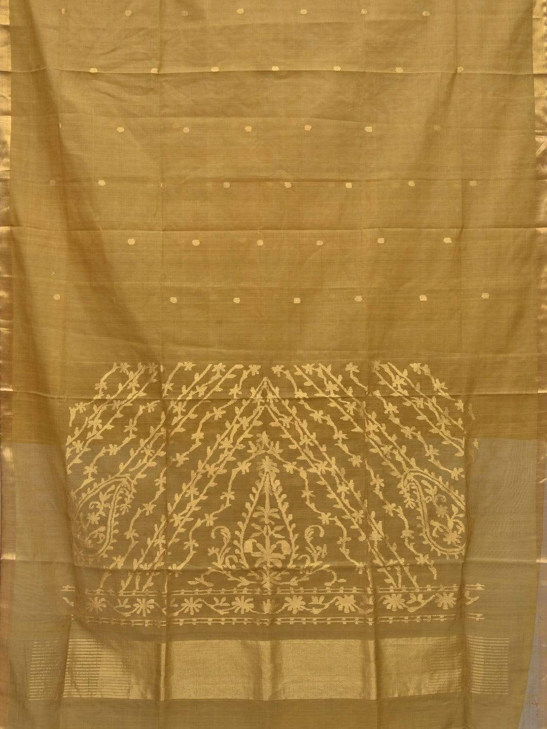 Olive Khadi Cotton Handloom Saree with Pallu Design kh0470