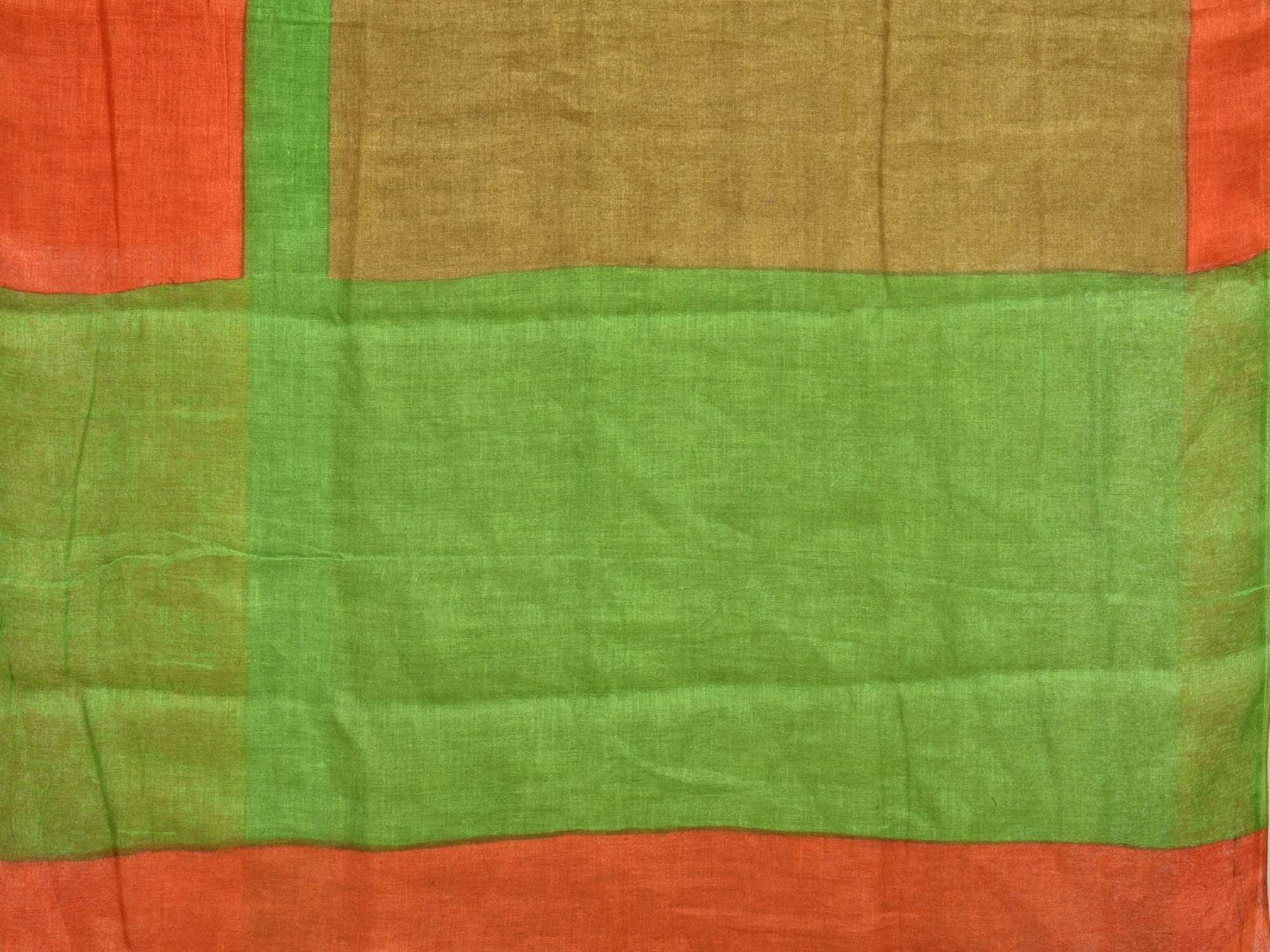 Olive Linen Handloom Plain Saree with One Side Big Border L0091