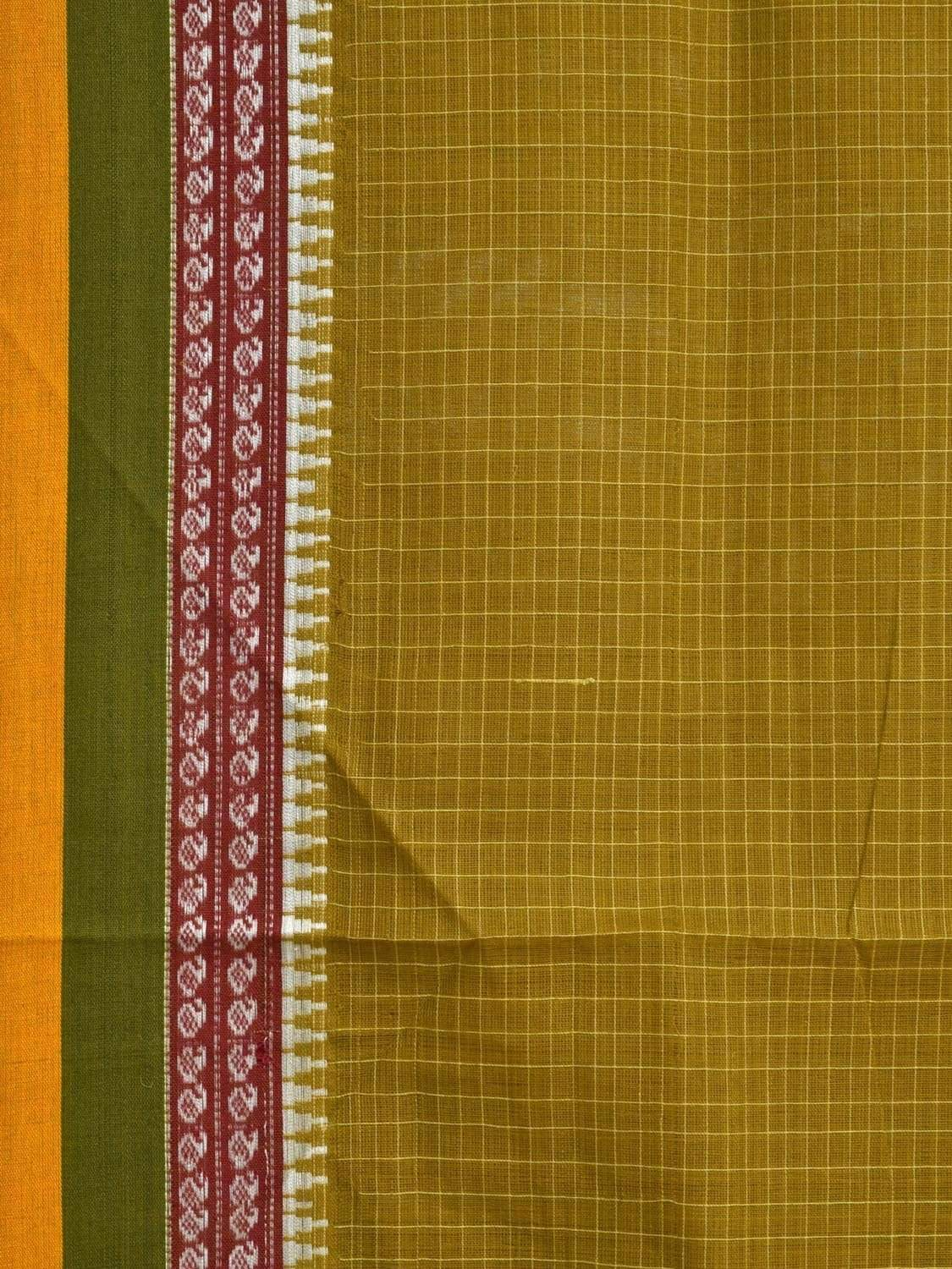 Olive Narayanpet Cotton Handloom Saree with Checks and Border Design No Blouse np0249