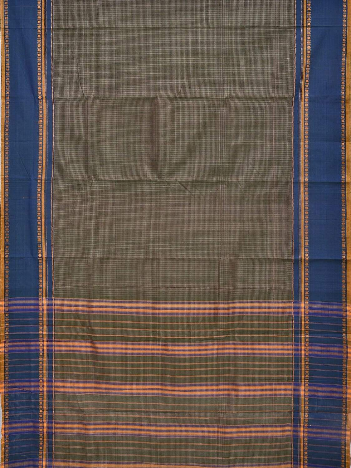 Olive Narayanpet Cotton Handloom Saree with Checks Design No Blouse np0229