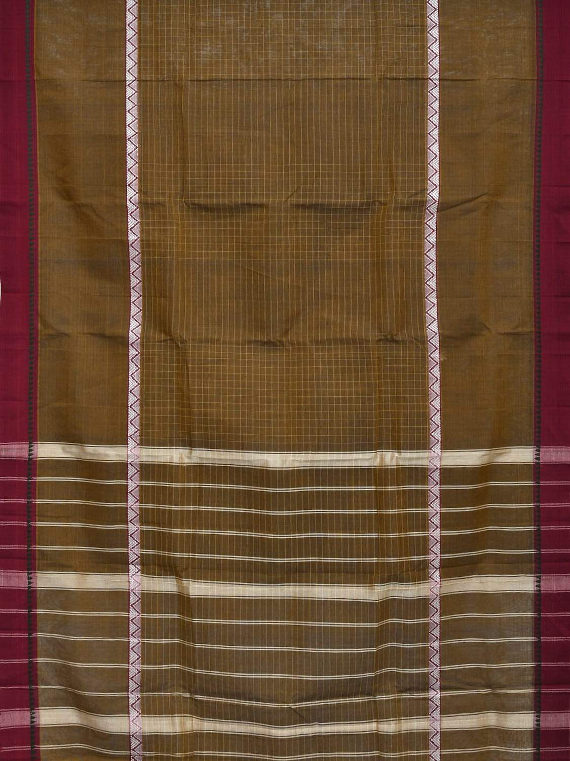Olive Narayanpet Cotton Handloom Saree with Checks Design No Blouse np0258