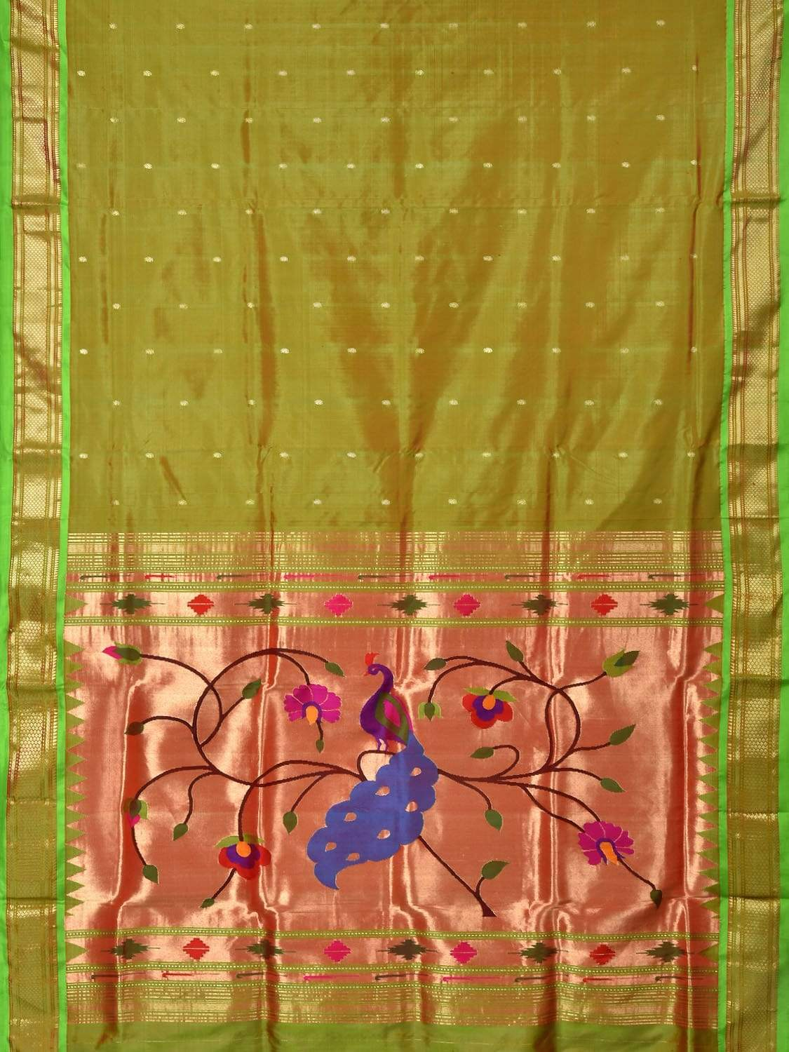 Olive Paithani Silk Handloom Saree with Sepcial Pallu Design p0319