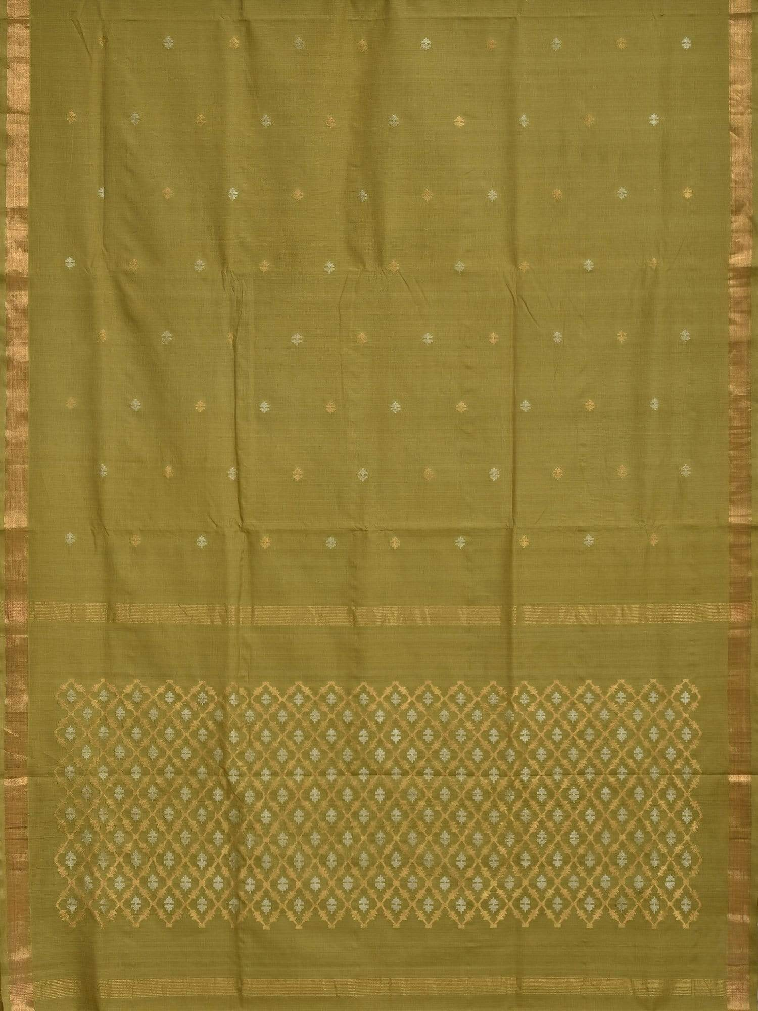Olive Uppada Cotton Handloom Saree with Jamdani Pallu Design u1491