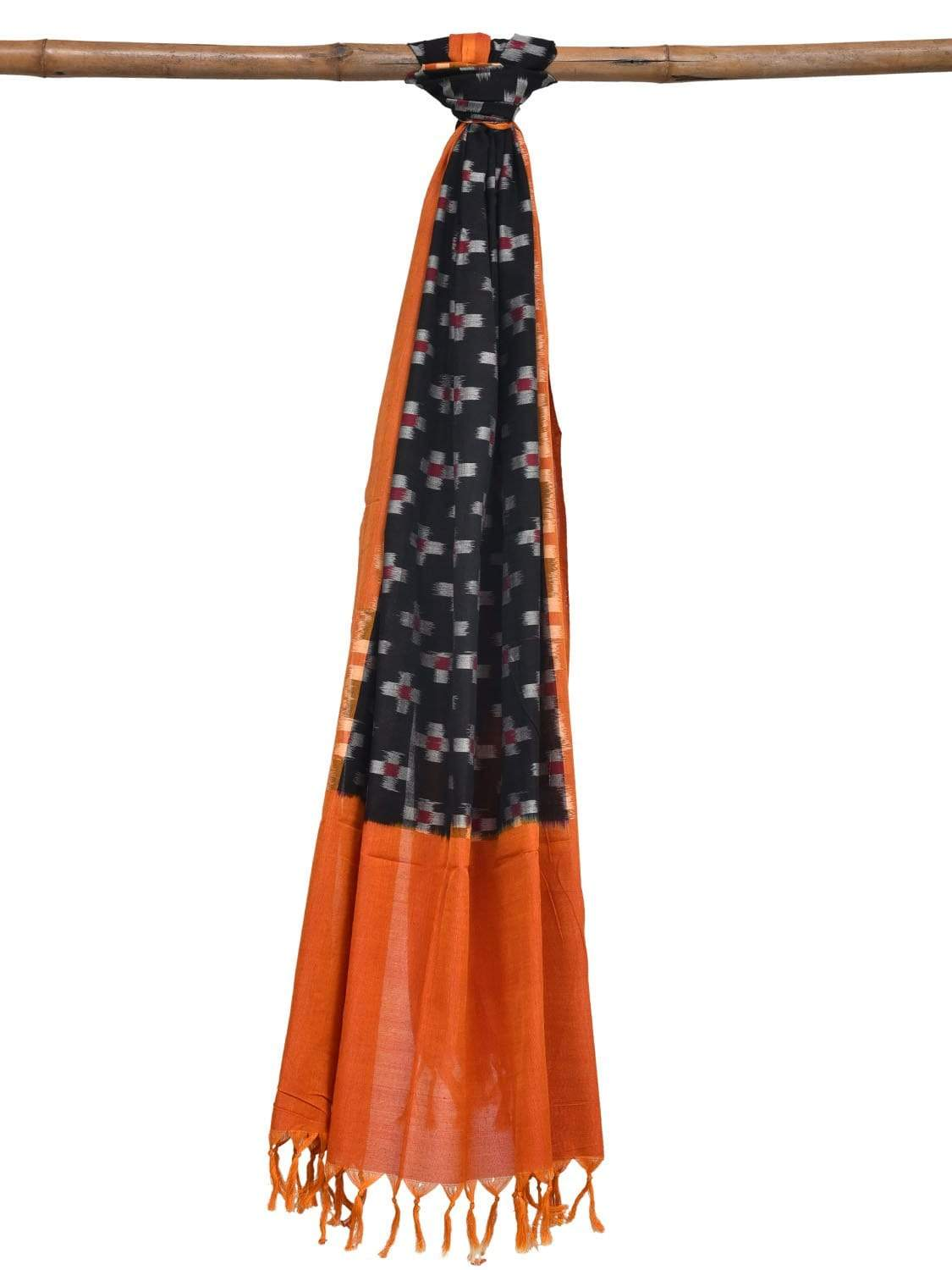 Orange and Black Pochampally Ikat Cotton Handloom Dupatta with Plus Buta Design ds1888