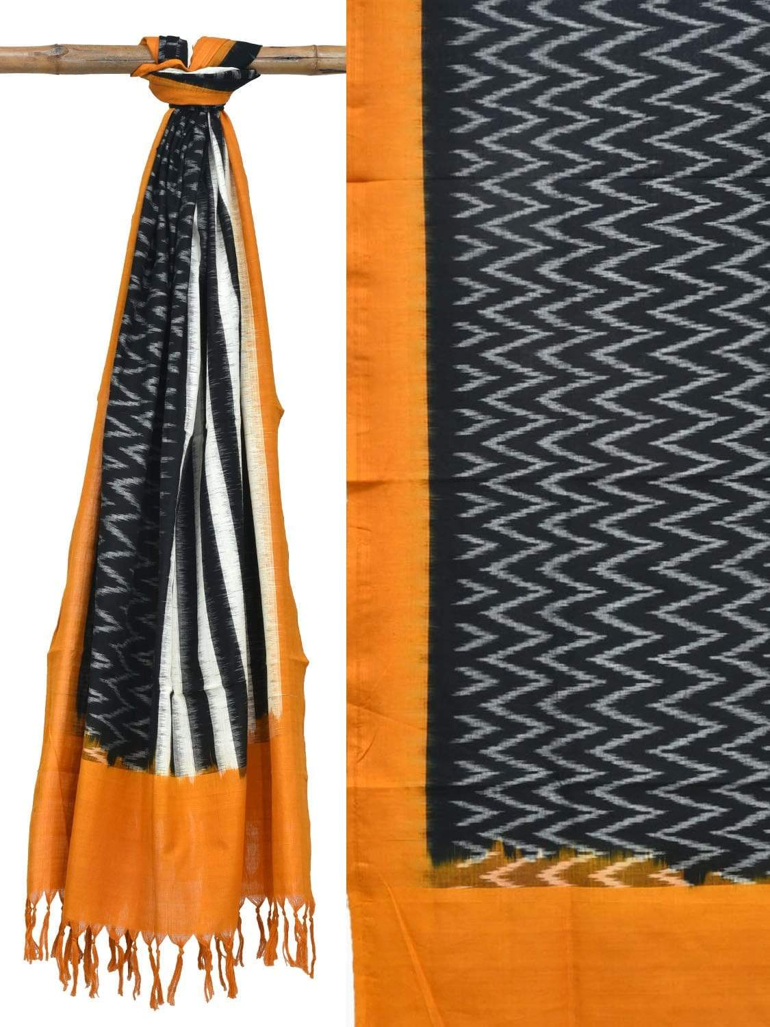 Orange and Black Pochampally Ikat Cotton Handloom Dupatta with Strips and Zig-Zag Design ds1840
