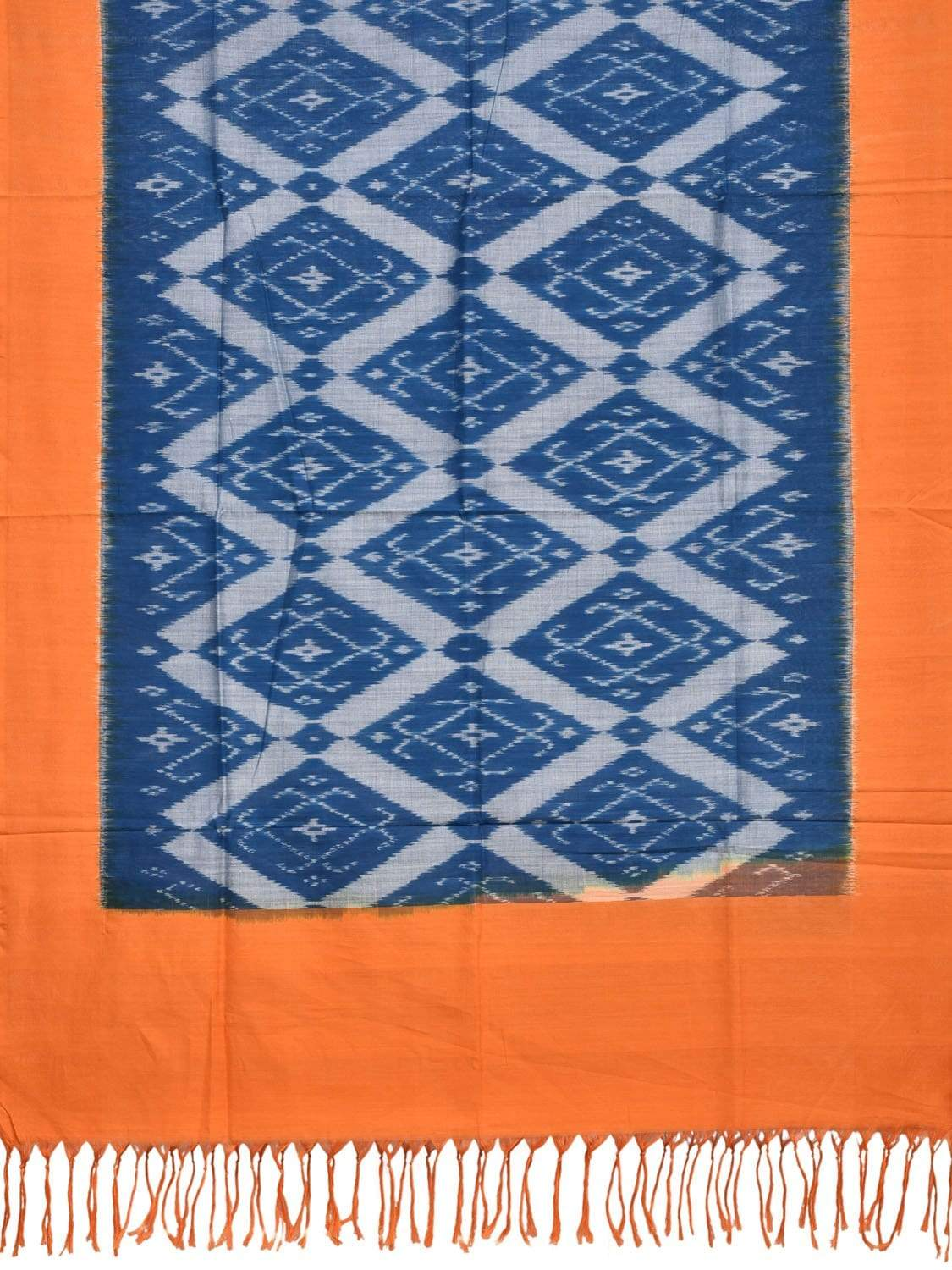 Orange and Blue Pochampally Ikat Cotton Handloom Dupatta with Grill Design ds1887