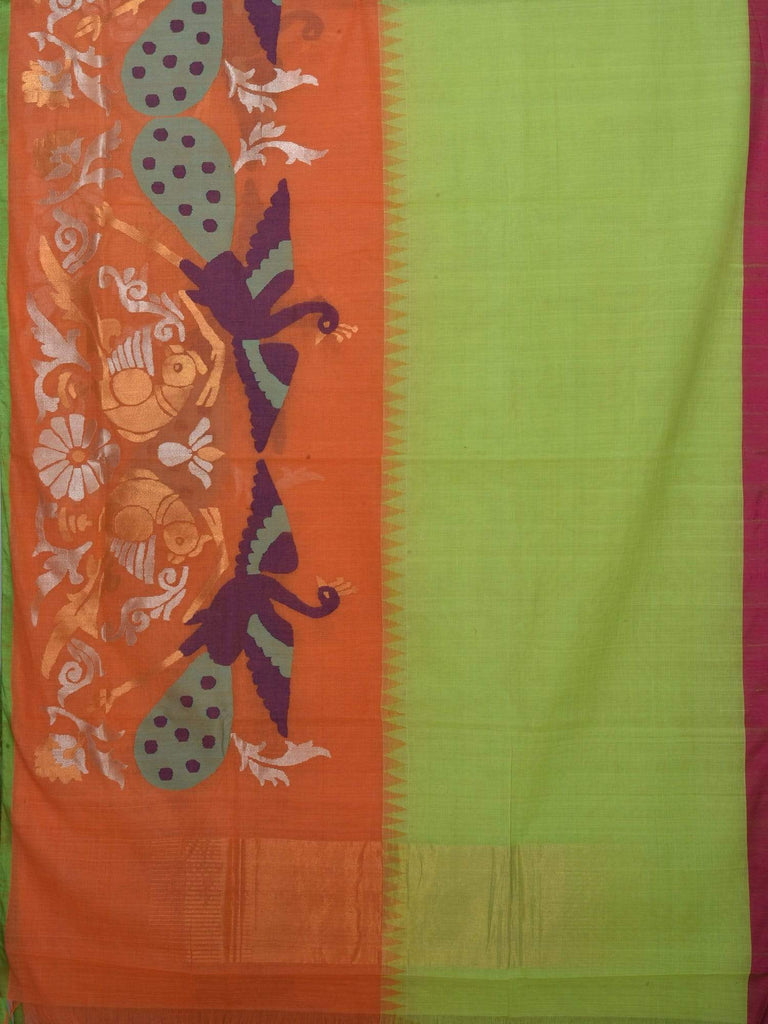 Orange and Green Khadi Cotton Handloom Saree with One Side Peacock and Parrot Design kh0350