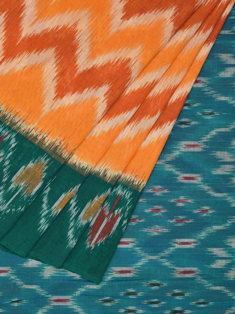 Orange and Green Pochampally Ikat Cotton Handloom Saree with Zig-Zag and Border Design No Blouse i0459
