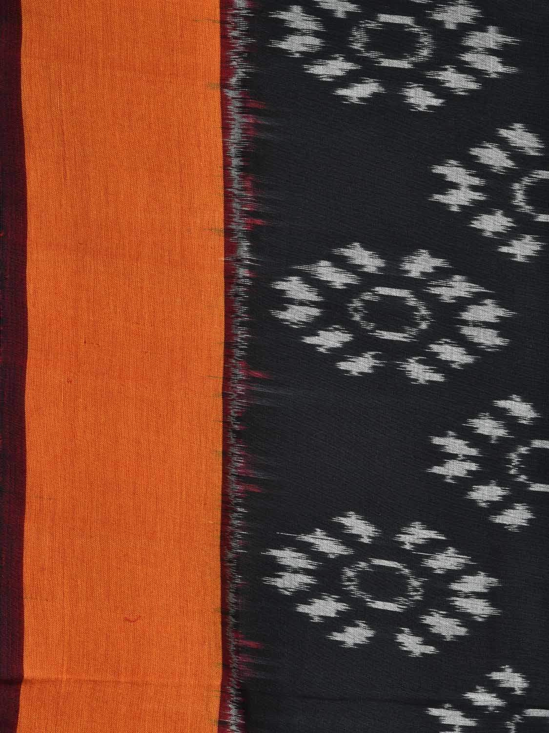 Orange and Grey Pochampally Ikat Cotton Handloom Saree with Dual Body Design i0527