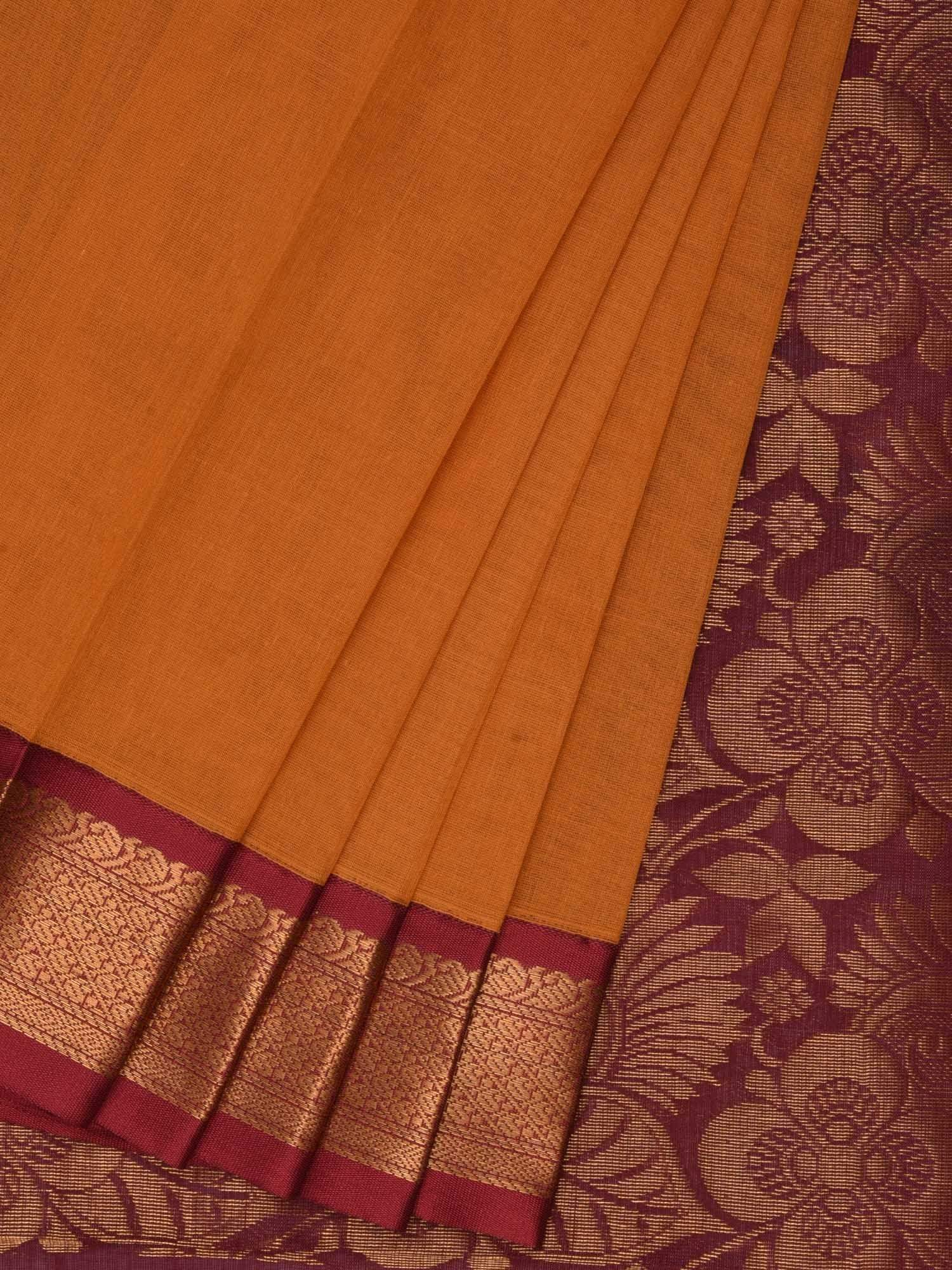 Orange and Maroon Gadwal Cotton Handloom Plain Saree with Rich Pallu G0197