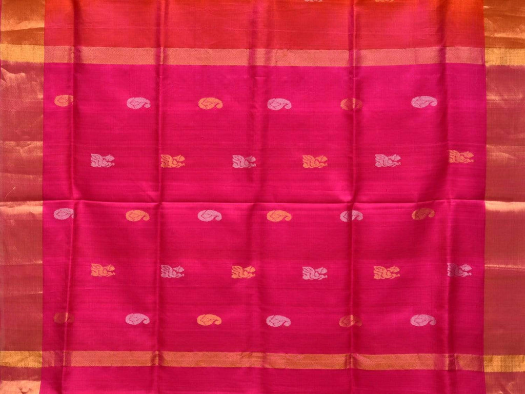 Orange and Pink Uppada Silk Handloom Saree with Buta and Contrast Pallu Design u1743