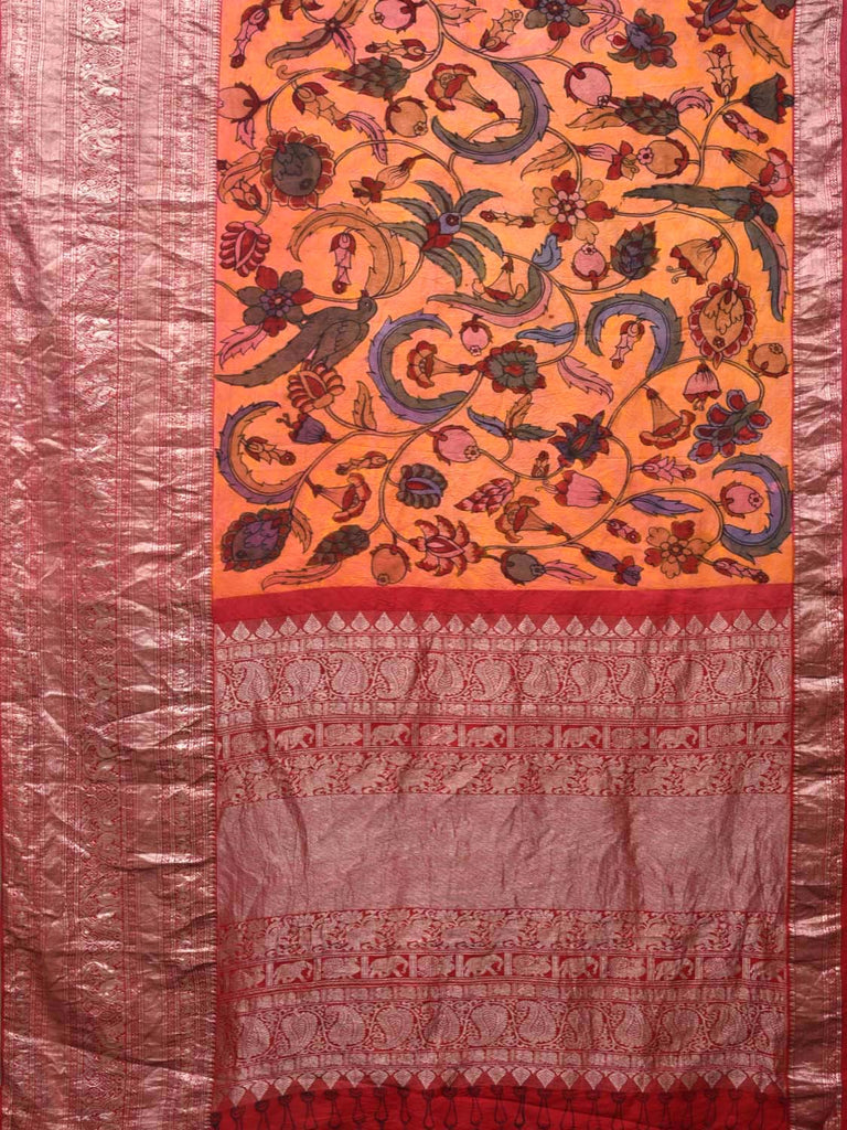 Orange and Red Kalamkari Hand Painted Kanchipuram Silk Handloom Saree with Silver Border and Floral Design KL0400