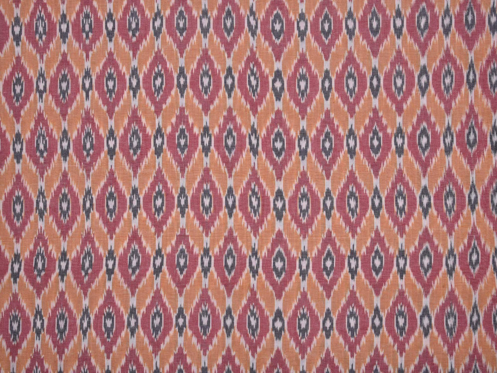 Orange And Red Pochampally Single Ikat Cotton Handloom Fabric F0059