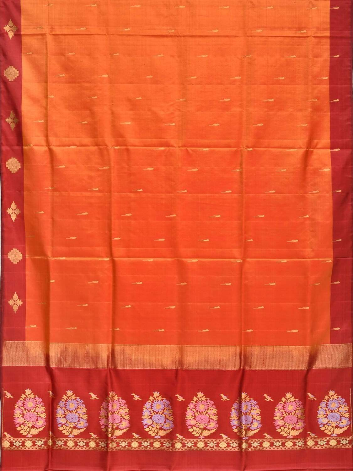 Orange and Red Silk Handloom Saree with One Side Border and Pallu Design o0271