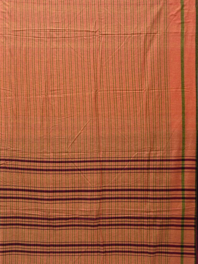 Orange Cotton Handloom Saree with Strips Design o0281
