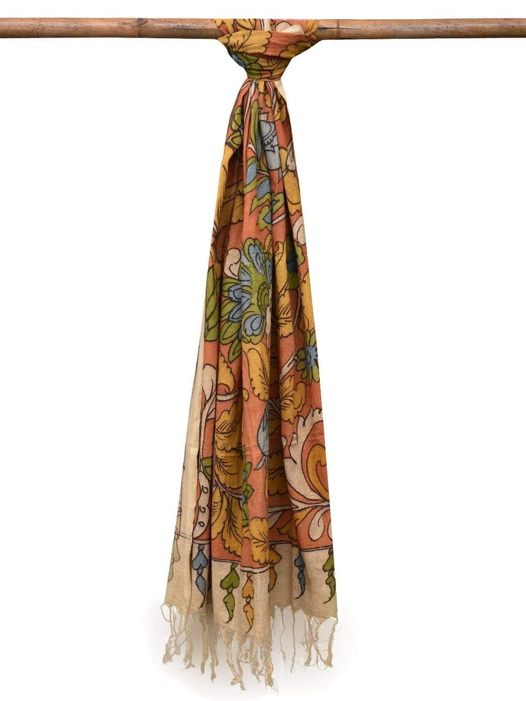 Orange Kalamkari Hand Painted Tussar Handloom Dupatta with Flowers Design ds2116